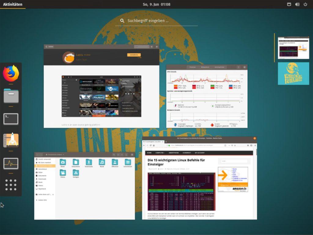 Pop!_OS 19.04 mit Lutris und anderen Programmen offen