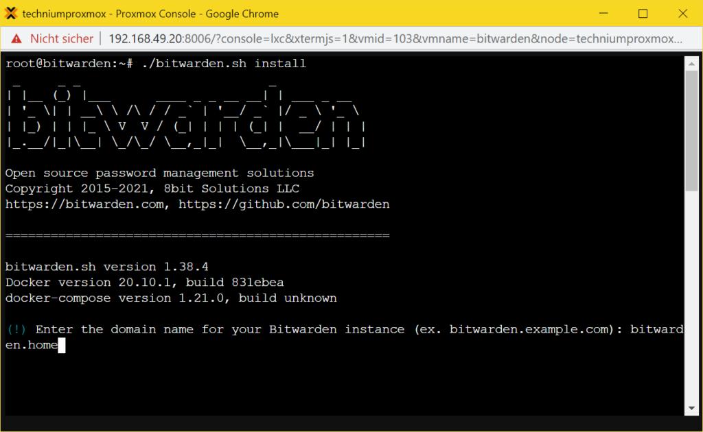 Bitwarden LXC Container installieren - Bitwarden Install