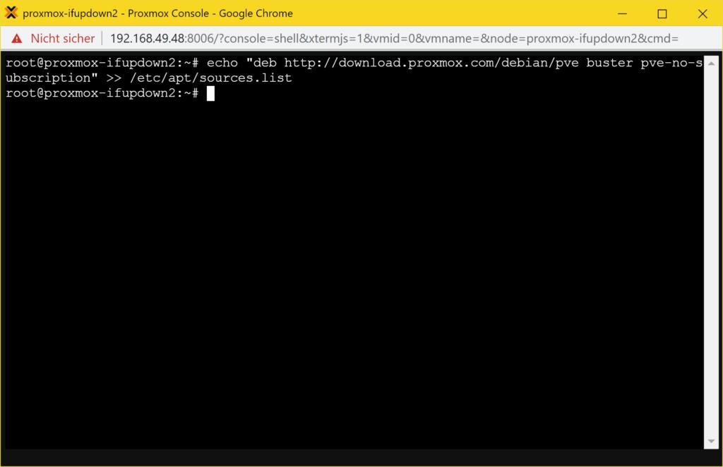 Proxmox ifupdown2 installieren - repository