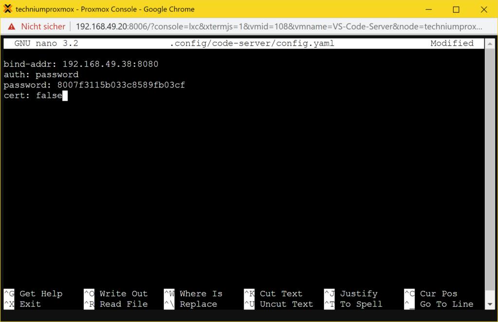 VS Code Server installieren - Konfiguration bearbeiten