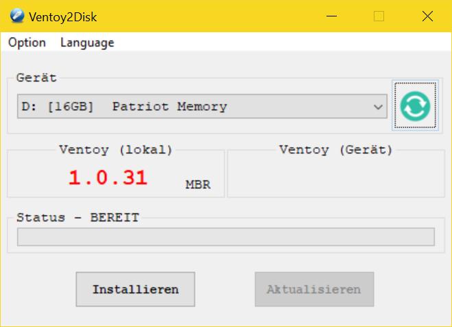 Ventoy - USB Boot Stick erstellen (Multiboot fähig) - Start