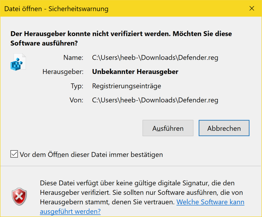 Windows 10 Defender deaktivieren - Tutorial - Sicherheitswarnung