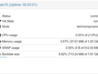 Proxmox LXC Container erstellen - LXC Status