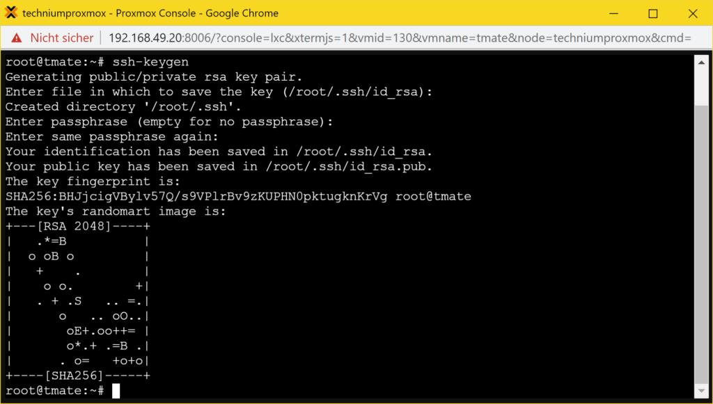 Installer Debian tmate - manuel - ssh keygen