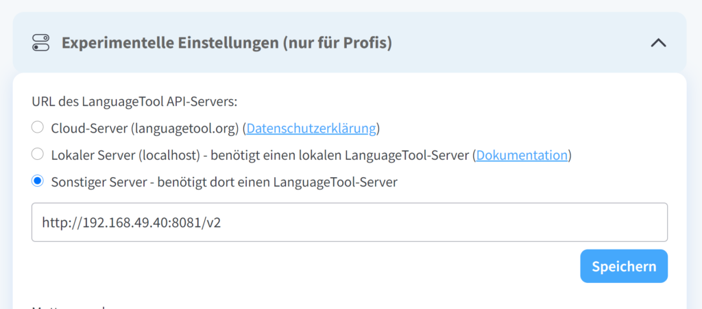 LanguageTool Server installieren - Tutorial - Einstellungen