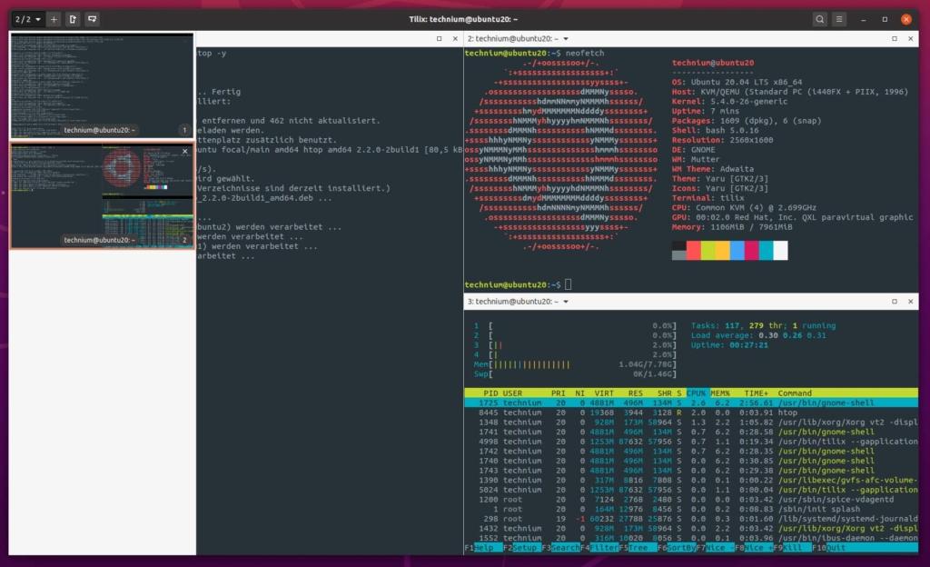 Ubuntu Tilix Terminal Emulator installieren - tabs