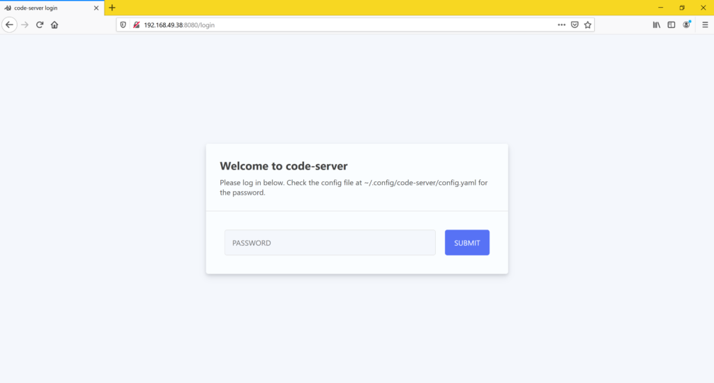 VS Code Server installieren - login