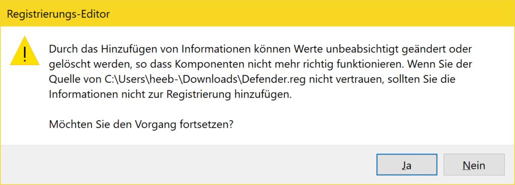 Windows 10 Defender deaktivieren - Tutorial - Registrierungs-Editor bestätigen