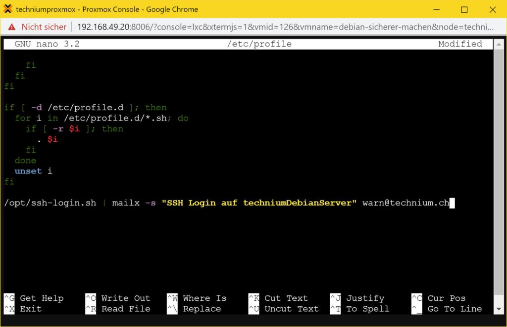 Debian Server sicherer machen - ssh mail