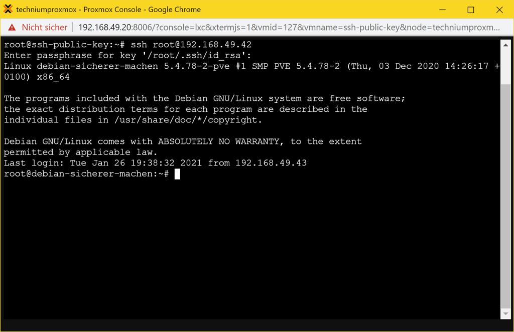 SSH Public Key Authentifizierung - login