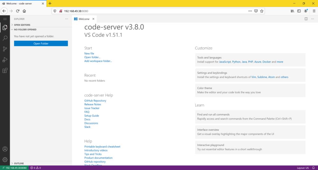 VS Code Server installieren - WebUI