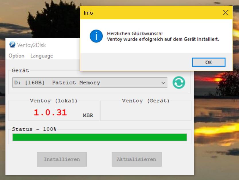 Ventoy - USB Boot Stick erstellen (Multiboot fähig) - Installation complete
