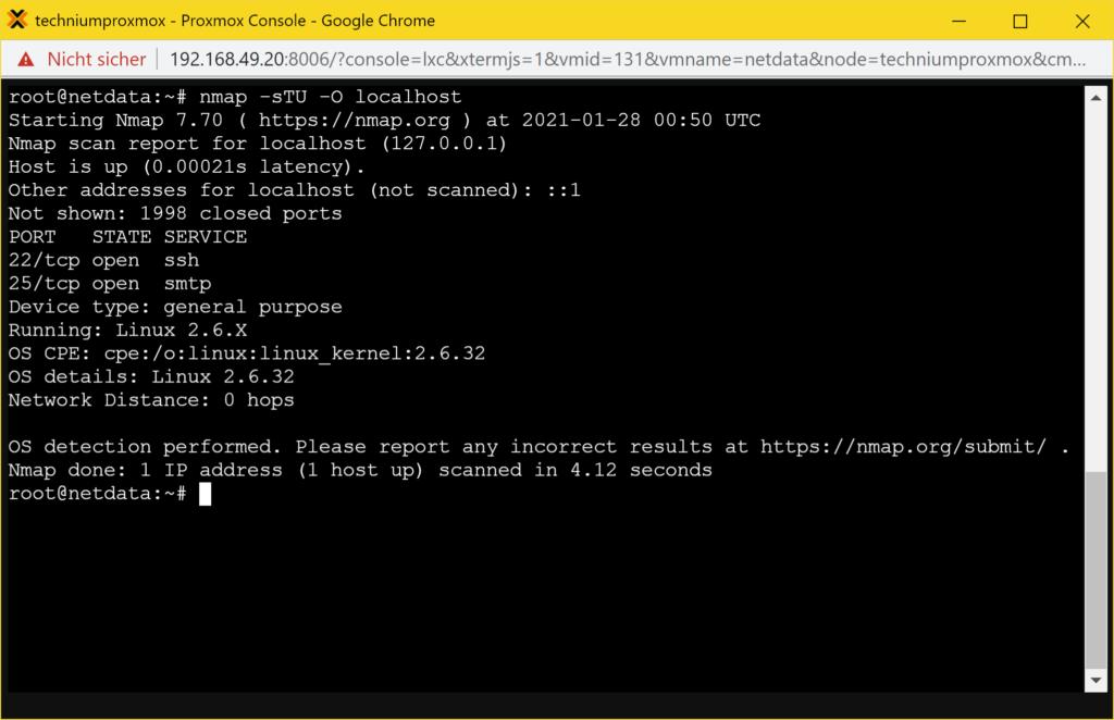 Debian offene Ports anzeigen - nmap