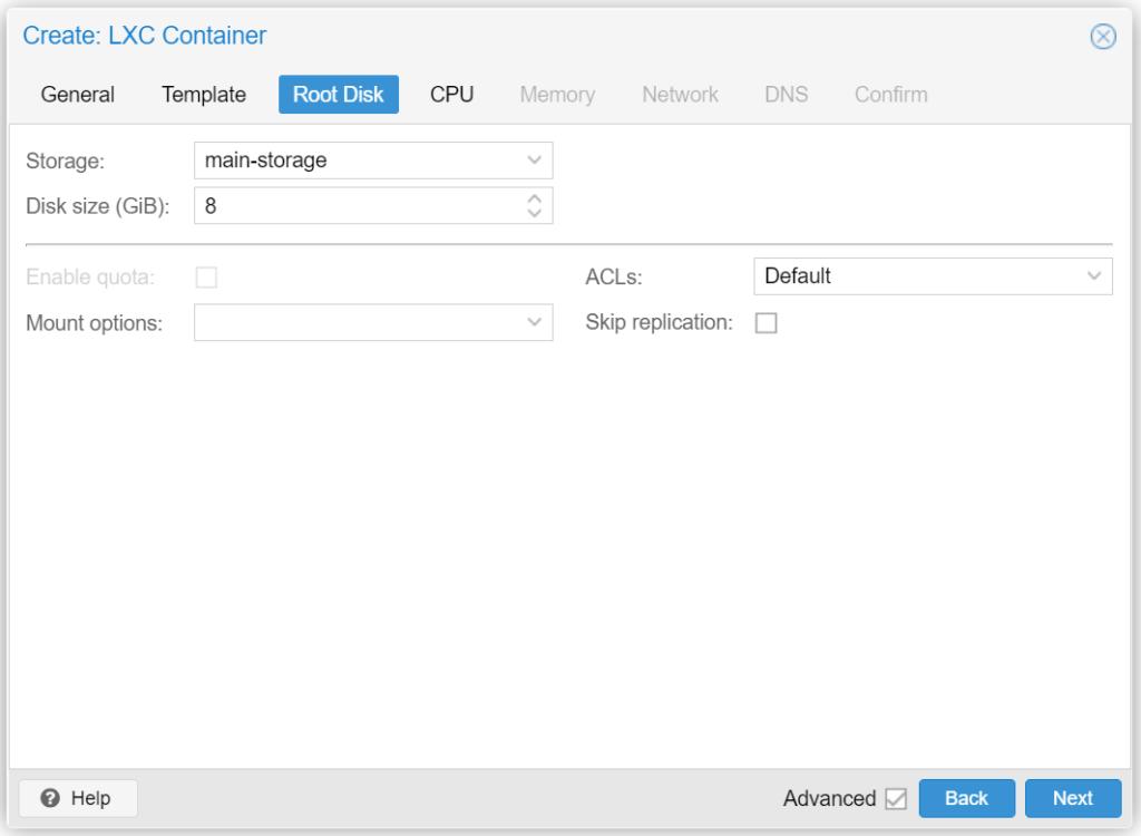 Proxmox LXC Container erstellen - Create LXC Root Disk