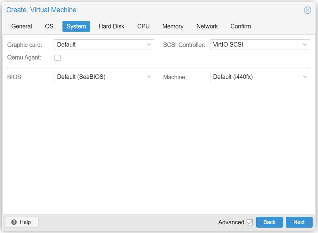 Proxmox VM erstellen - System