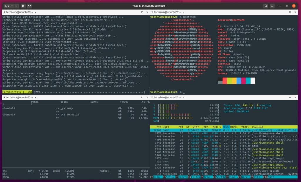 Ubuntu Tilix Terminal Emulator installieren - 4 windows