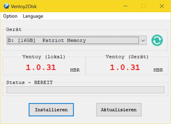 Ventoy - USB Boot Stick erstellen (Multiboot fähig) - Installed