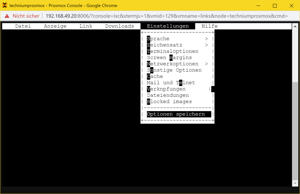 Debian Links 2.6 installieren - Tutorial - save options