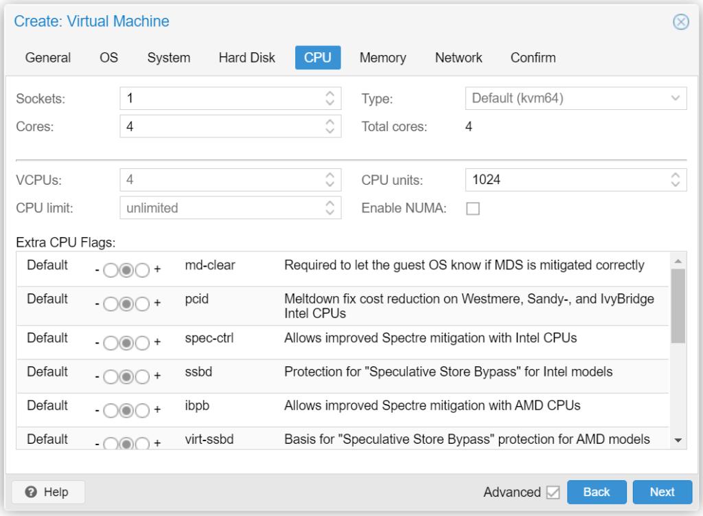 Proxmox VM erstellen - CPU