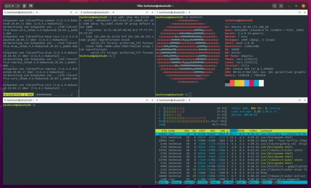 Ubuntu Tilix Terminal Emulator installieren - 5 windows