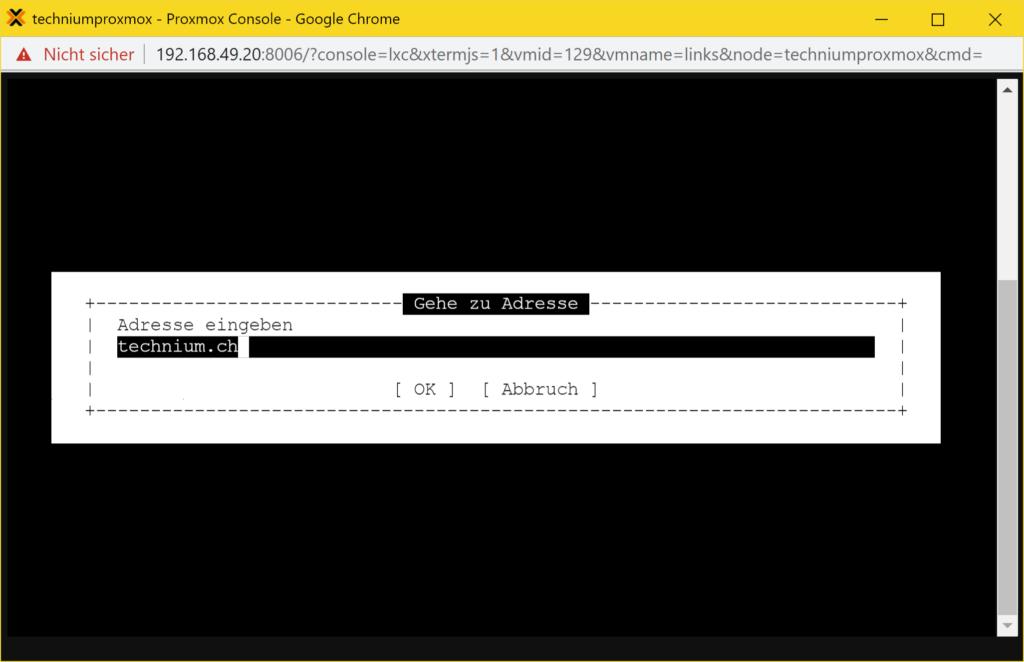Debian Links 2.6 installieren - Tutorial - adresse eingeben