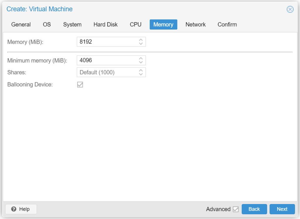Proxmox VM erstellen - Memory