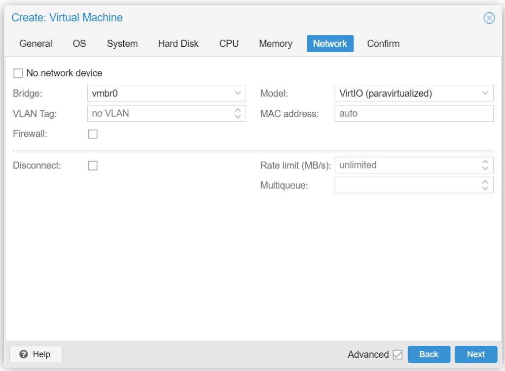 Proxmox VM erstellen - Network