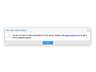 Proxmox No valid subscription