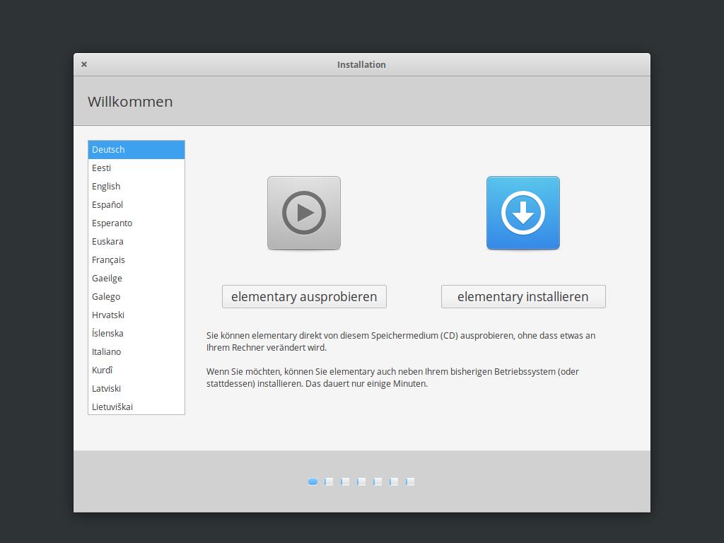 Elementary OS 5.1 installieren - sprache