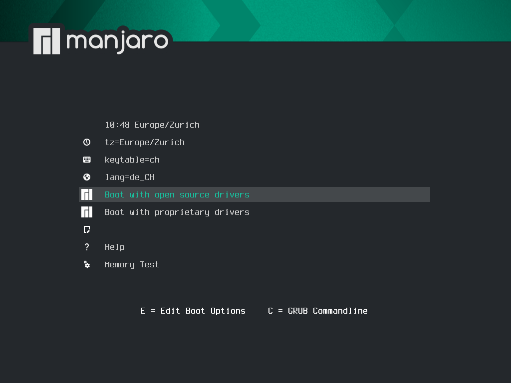 Manjaro 20.2.1 installieren - select boot option