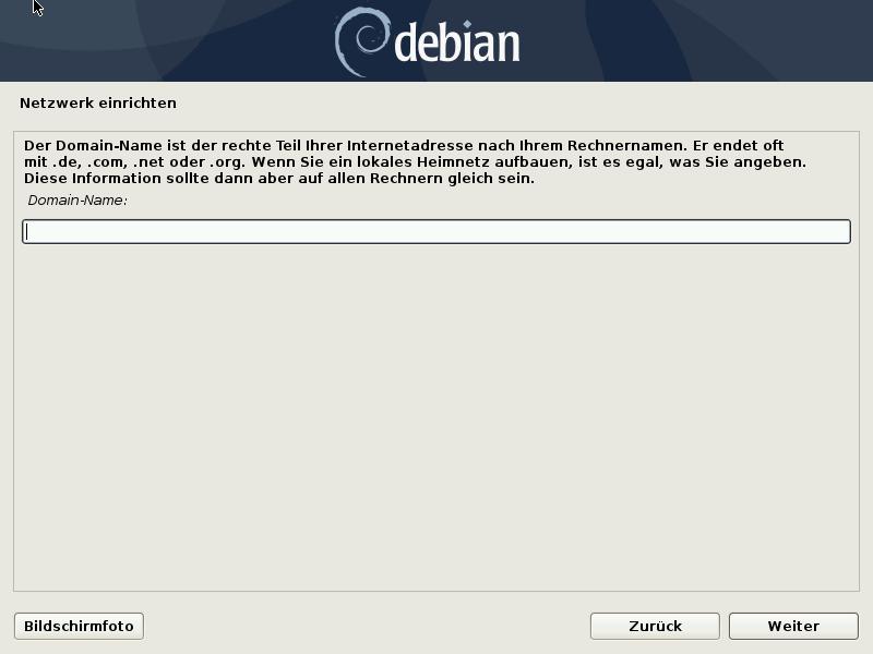Debian 10.8.0 Server installieren - domain