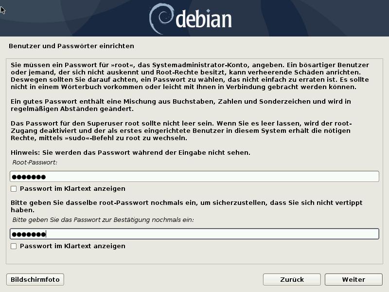 Debian 10.8.0 Server installieren - root password