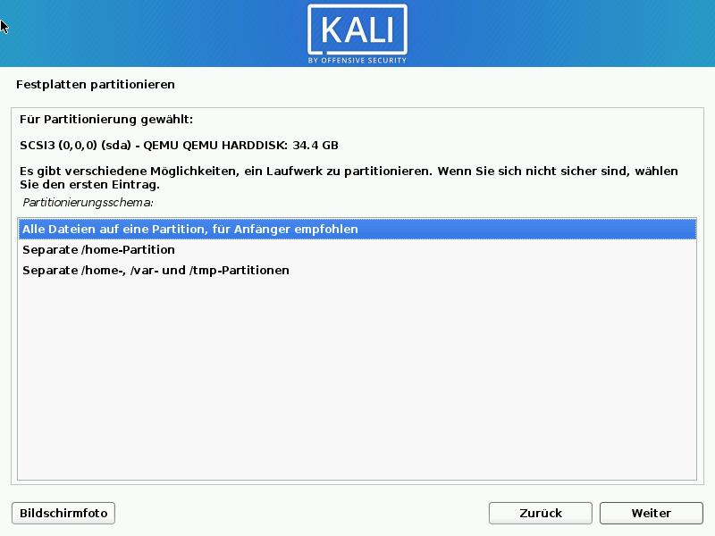 Kali Linux installieren - eine partition