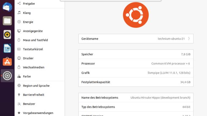 Ubuntu 21.04 installieren - ubuntu version