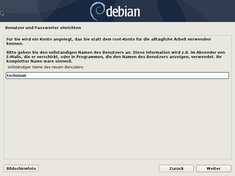 Debian 10.8.0 Server installieren - username
