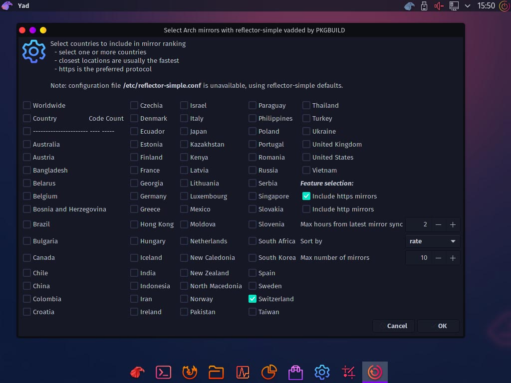 Installez Garuda Linux - sélectionnez Arc Mirror
