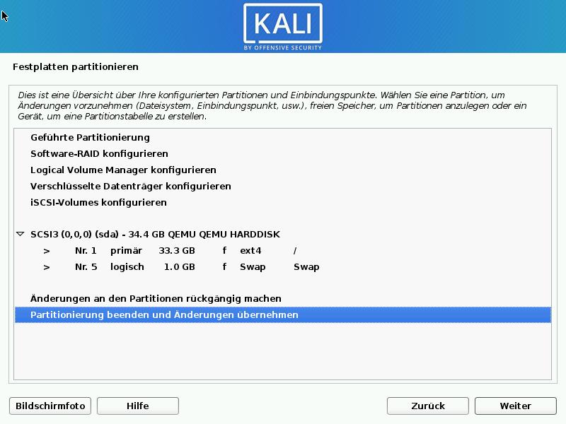 Kali Linux installieren - festplatte übernehmen