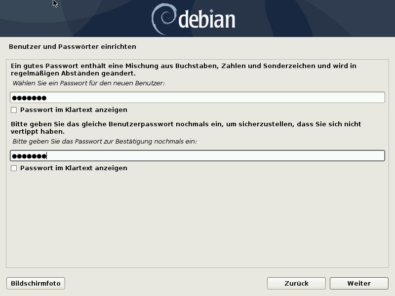 Debian 10.8.0 Server installieren - user password