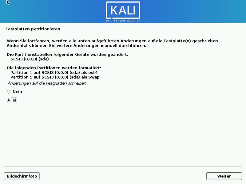 Kali Linux installieren - festplatte übernehmen 2