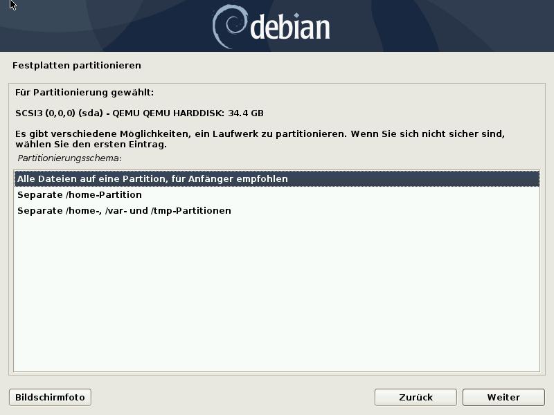 Debian 10.8.0 Server installieren - disk auto