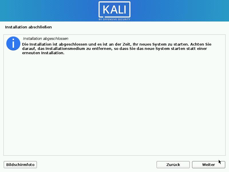 Kali Linux installieren - installation abschliessen