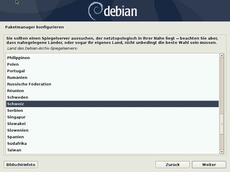 Debian 10.8.0 Server installieren - paketmanager