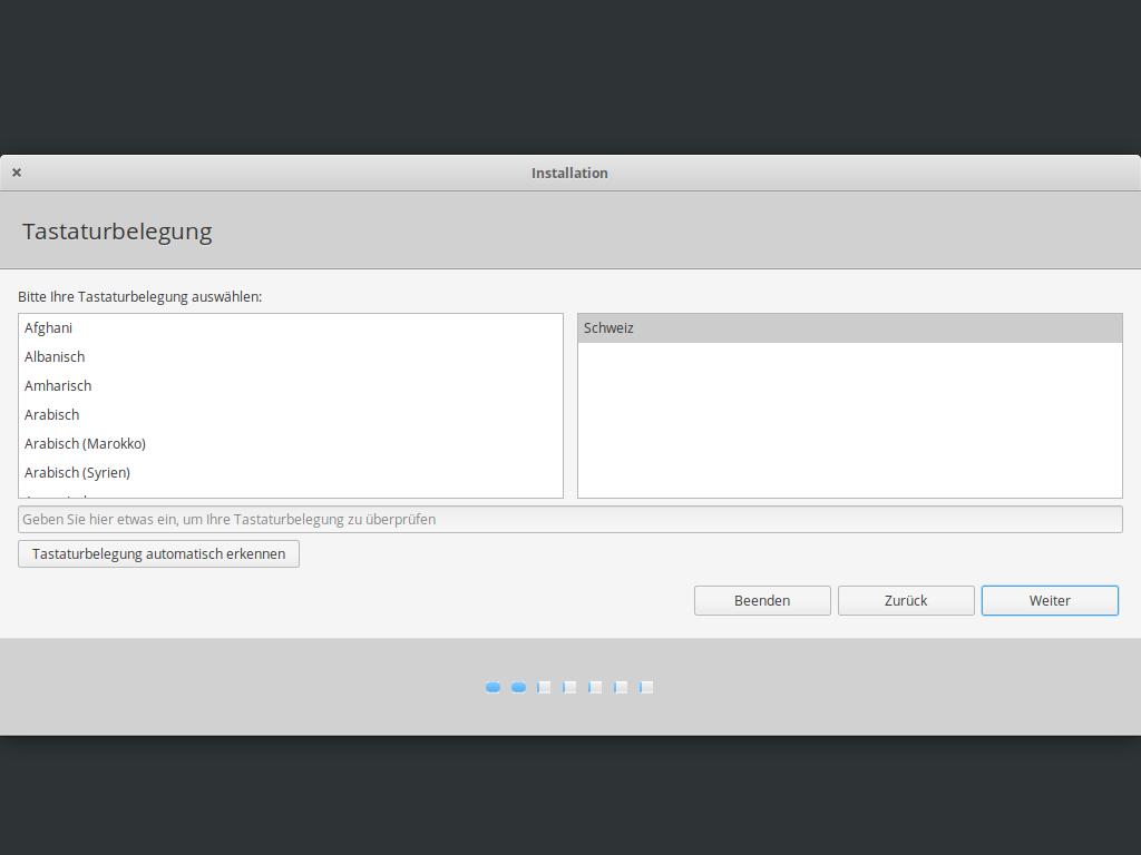 Elementary OS 5.1 installieren - tastaturbelegung