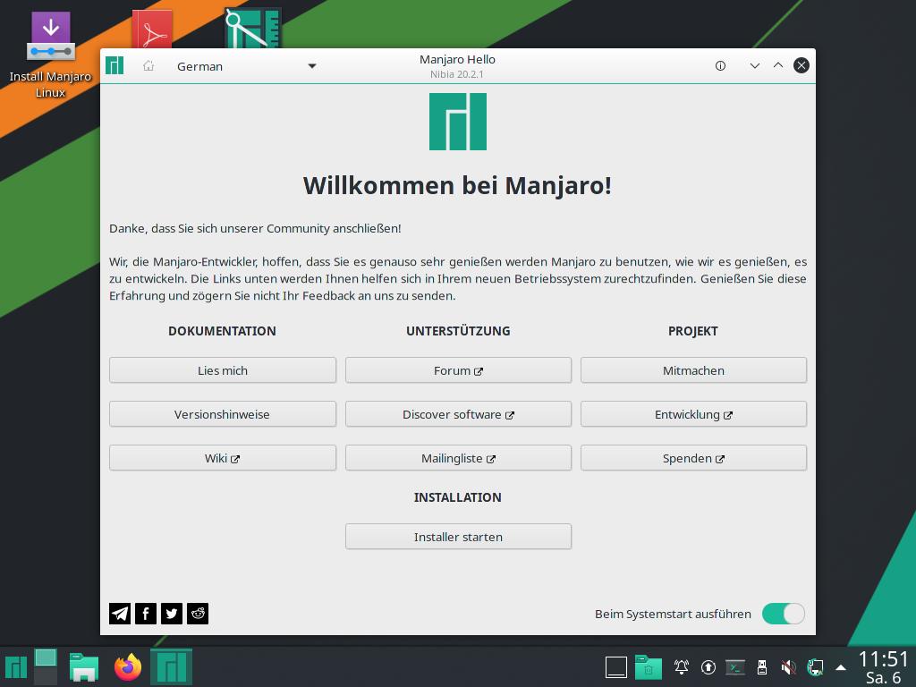 Manjaro 20.2.1 installieren - willkommen