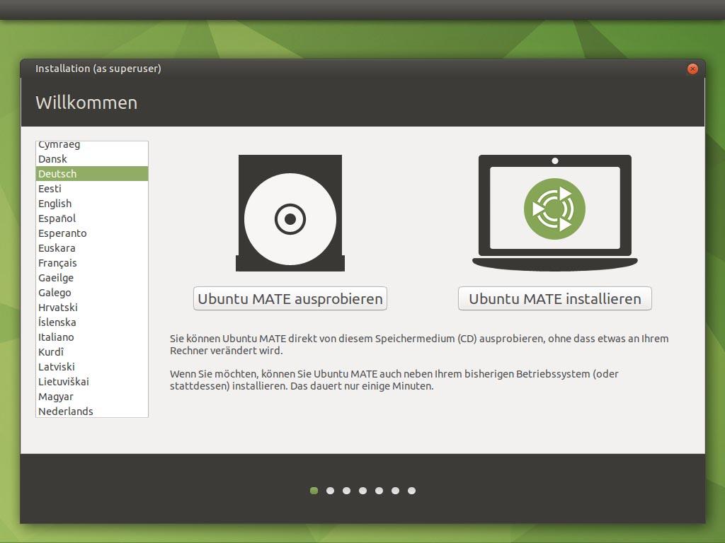Ubuntu MATE 20.10 installieren - sprache