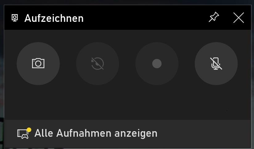 Windows 10 Bildschirmaufnahme - Aufzeichnen
