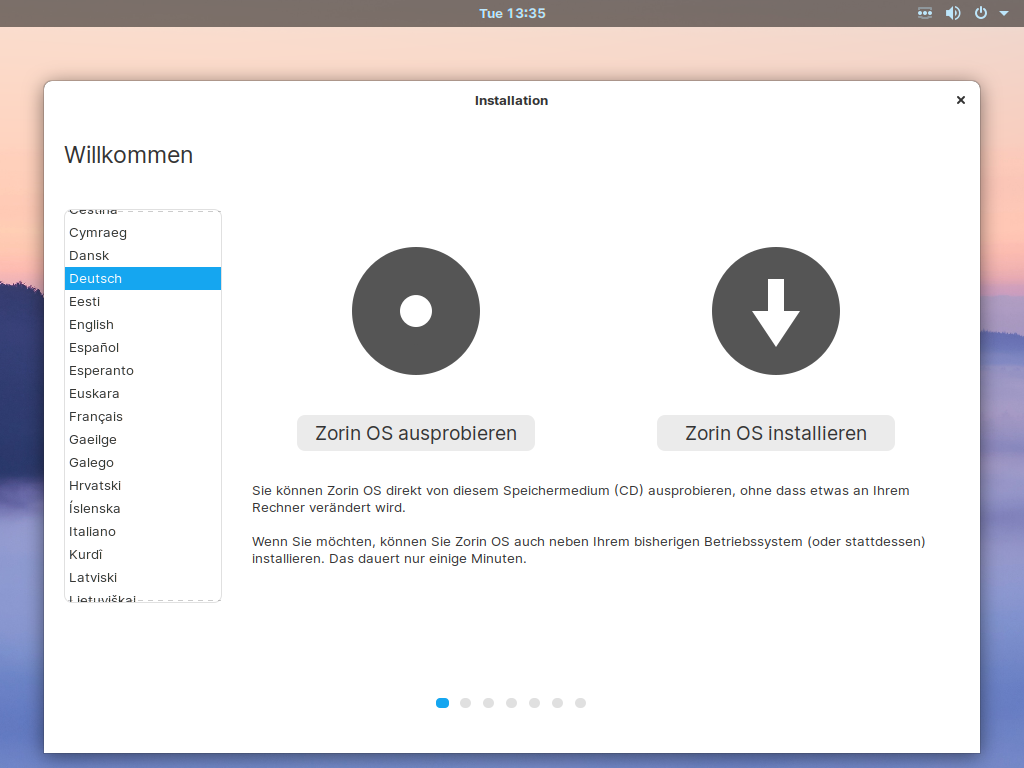 Zorin OS 15.3 installieren - sprache