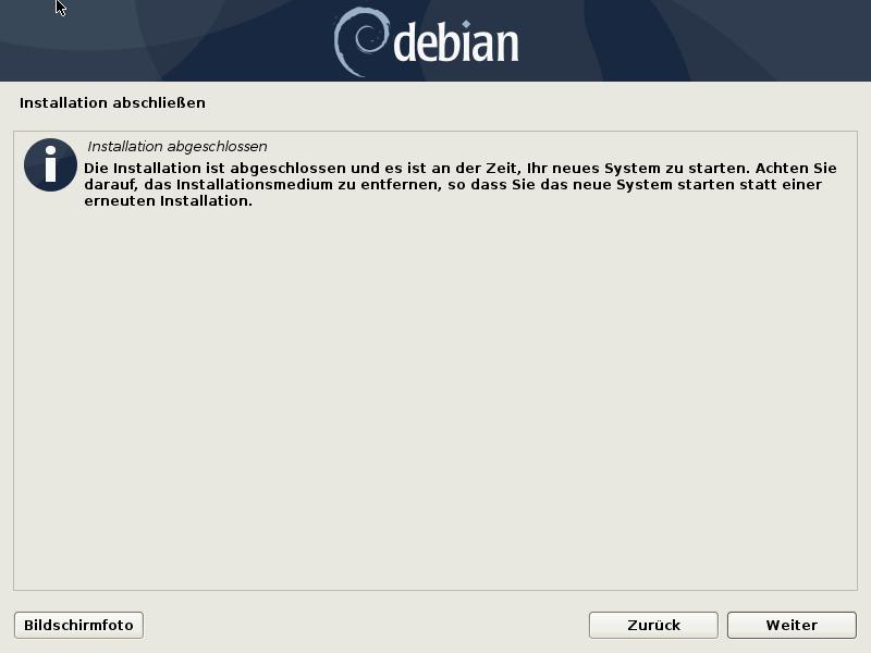 Debian 10.8.0 Server installieren - installation abgeschlossen