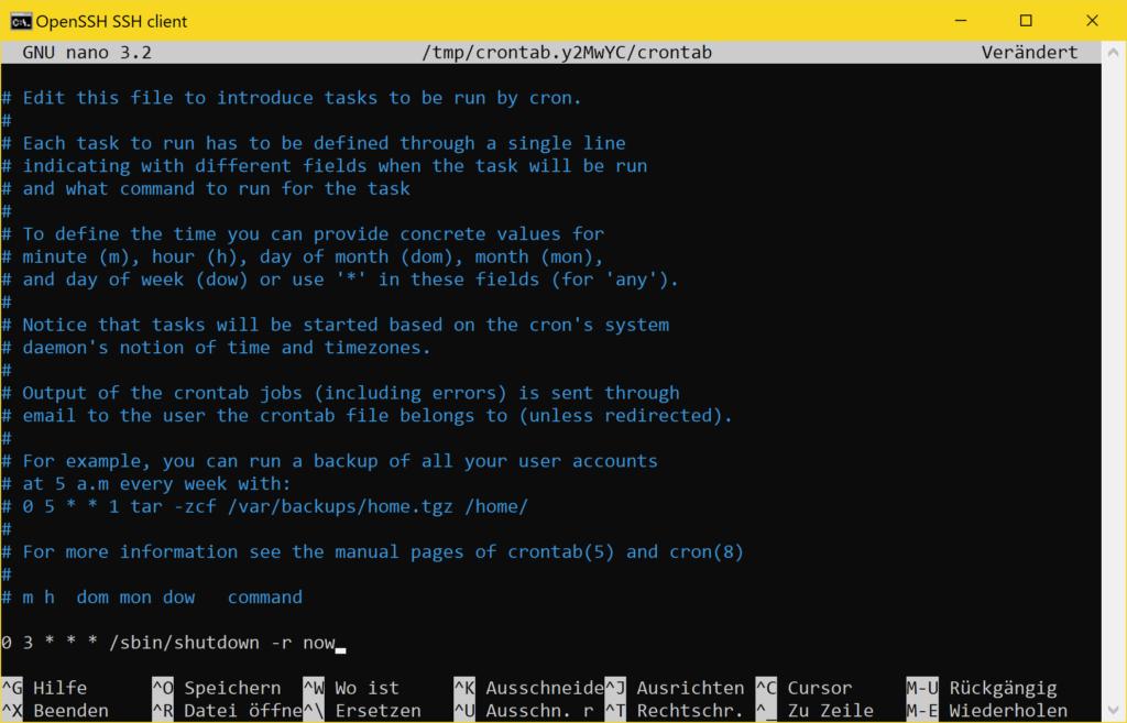 Debian automatischer Neustart mit Crontab