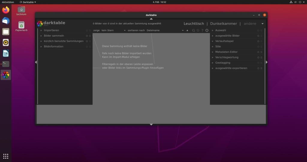Debian darktable installieren - import